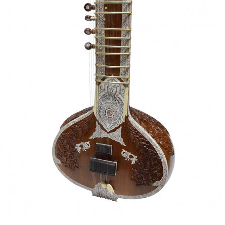 Mirajkars Decorative Kharaj Pancham Sitar, Pro, with Fiber Case