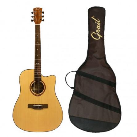 Grail Aspire D210CE Semi Acoustic Guitar Cutaway Spruce Top Sapele B&S (FREE Water Resistant Padded Gig Bag & 2 Picks)