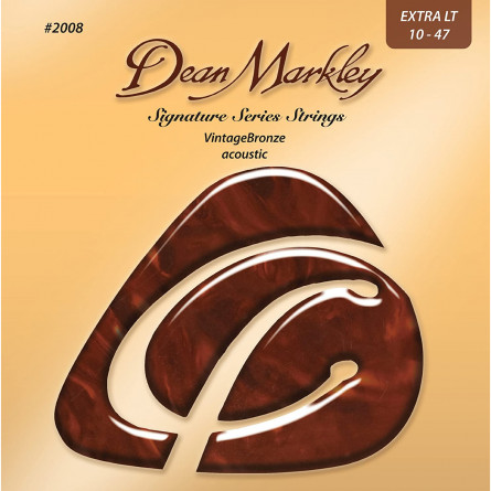 Dean Markley 2008 Vintage Bronze Acoustic Guitar Strings, Extra Light, 10-47