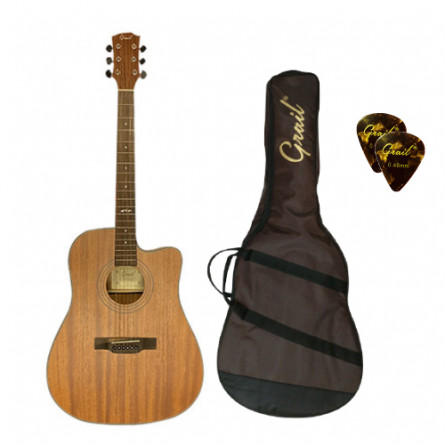 Grail Aspire D410CE Semi Acoustic Guitar Cutaway All Mahogony with Truform case