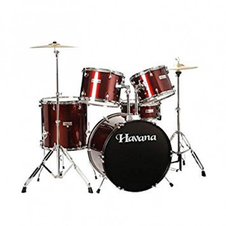 Havana HV522 WR Drum Set 5 Pcs with Hardware Throne and Cymbals Wine Red