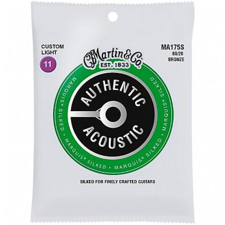 Martin MA175S Marquis Silked Acoustic Guitar Strings Set Custom Light 11-52