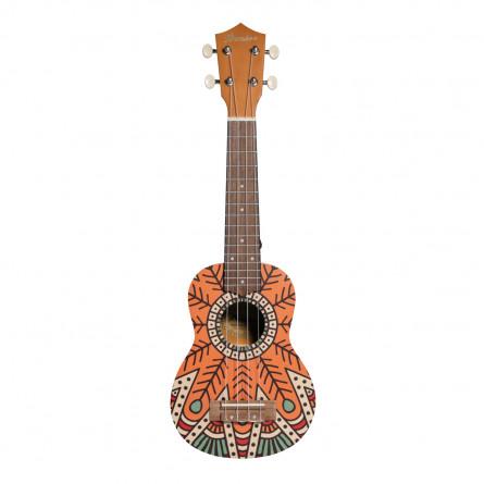 BAMBOO Orange Concert Ukulele Mandala Series Acoustic   for Beginners and Professionals   Sapele & Walnut   with Gig Bag (New Generation)