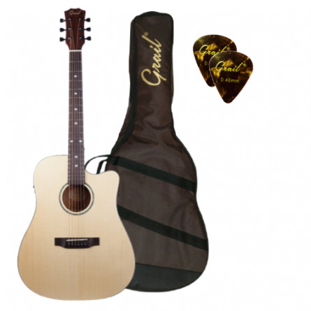 Grail SD310CE Semi Acoustic Guitar Cutaway Solid Spruce Top with Fishman Pickup (FREE Water Resistant Padded Gig Bag & 2 Picks)
