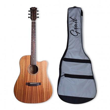 Grail AG-SD410E Acoustic Guitar Cutaway with Solid Mahogany Top Mahogany B&S