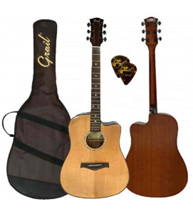 Grail D500C Solid Top Acoustic Guitar | Dreadnought 41 inch full size with Cutaway | Glossy Finish Spruce Top Body | For Beginner & professional Adult - Performance Edition | Natural | (FREE Water Resistant Padded Gig Bag & 2 Picks)