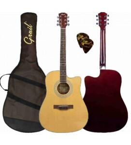 Grail Aspire D120C Acoustic Guitar Cutaway Spruce Top (FREE Water Resistant Padded Gig Bag & 2 Picks)
