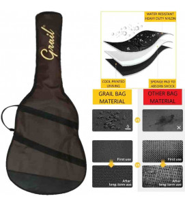 Grail Premium Acoustic Padded Gig Bag, Water Resistant, Weather Resistant, Shock Proof, Double Zipper (Brown)