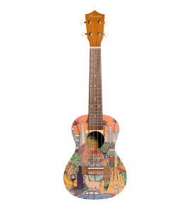 BAMBOO Latin Concert Ukulele Culture Series Acoustic | For Beginners and Professionals | Sapele & Walnut | With Gig Bag (New Generation)