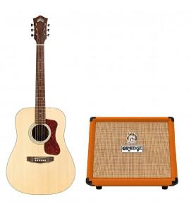 Guild D-240E Semi Acoustic Guitar with AP-1 Pickup Natural with Orange Acoustic 30 Amp