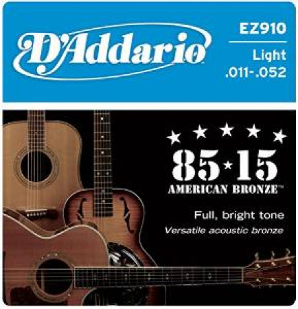 D'Addario Acoustic Guitar Strings 85/15 Bronze 011- 052 Set EZ910