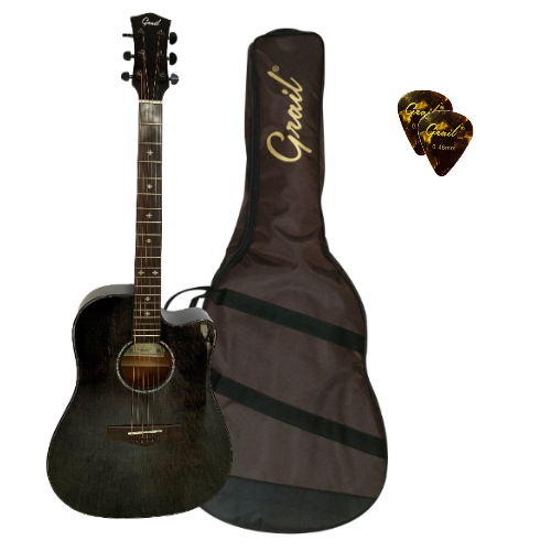 Grail Aspire Performance Edition D500C BK Acoustic Guitar Cutaway Solid Spruce Top Black