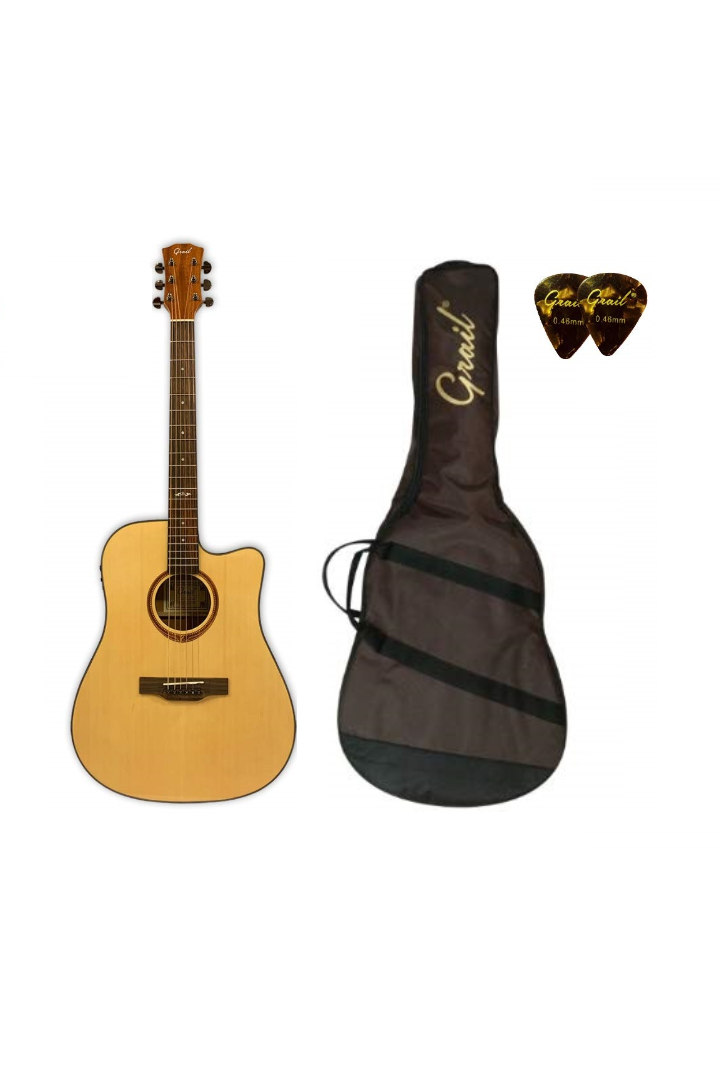 Grail Aspire D210CE Semi Acoustic Guitar Cutaway Spruce Top Sapele B&S (FREE Water Resistant Padded Gig Bag & 2 Picks)