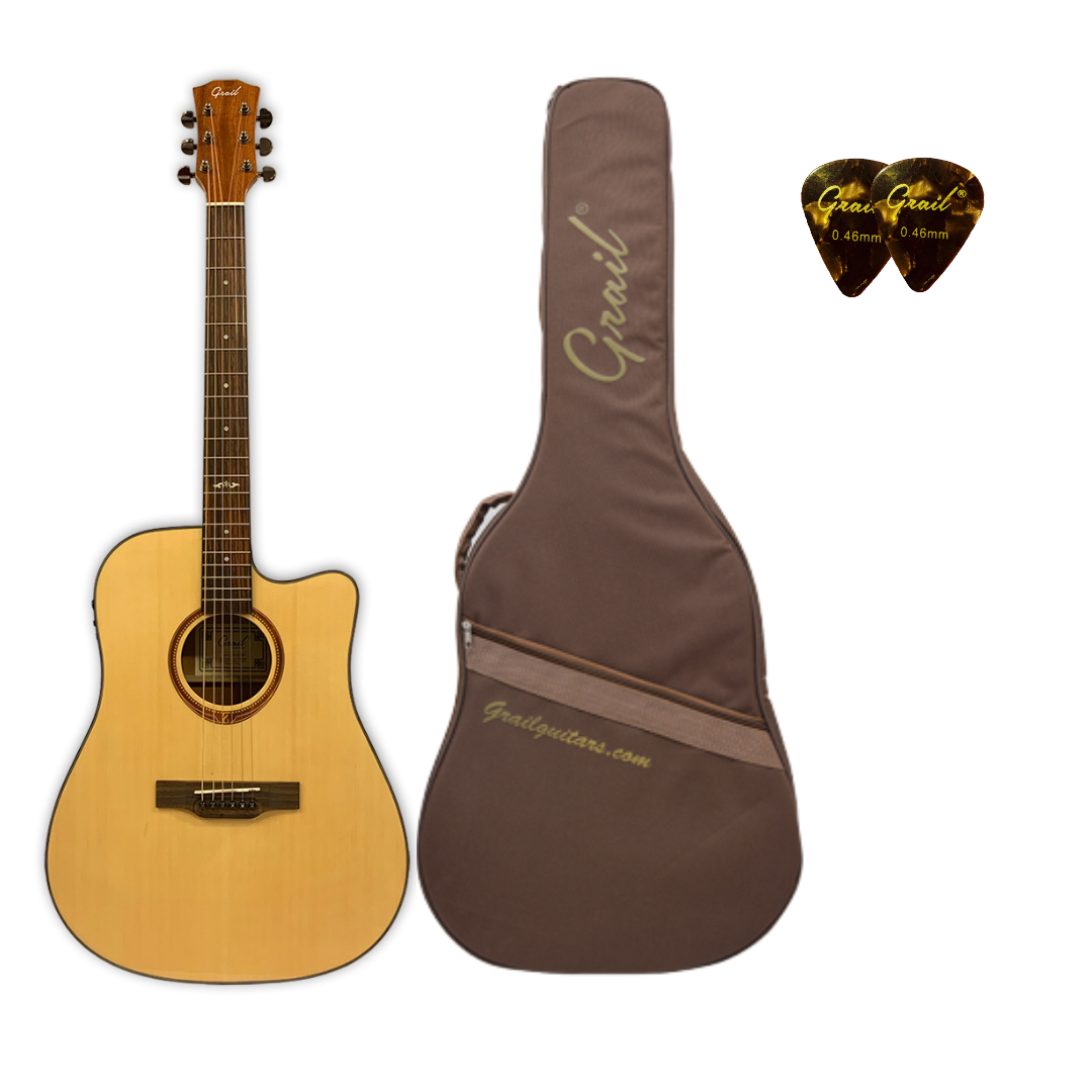 Grail Aspire D210CE Semi Acoustic Guitar Cutaway Spruce Top Sapele B&S with Trufrom Case
