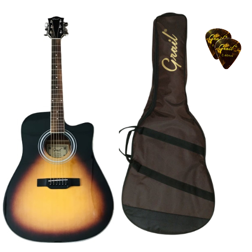 Grail Aspire D120C SB Acoustic Guitar Cutaway Spruce Top || Vintage Sunburst || (FREE Water Resistant Padded Gig Bag & 2 Picks)