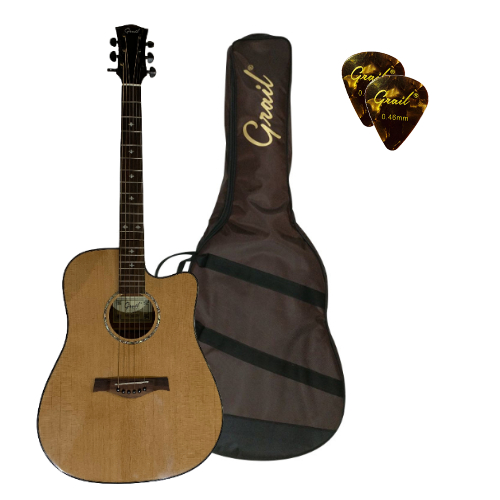Grail D500C Acoustic Guitar Cutaway Solid Spruce Top Natural
