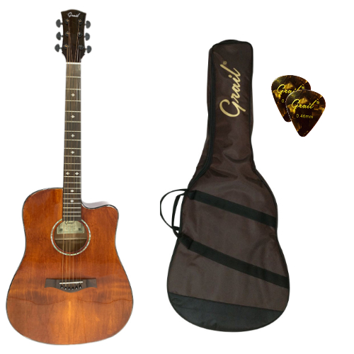 Grail Performance Edition D500C BR Acoustic Guitar Cutaway Solid Spruce Top (FREE Water Resistant Padded Gig Bag & 2 Picks)
