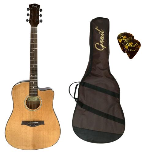 Grail D500C Acoustic Guitar Cutaway Solid Spruce Top Natural