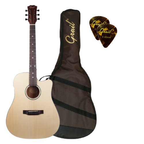 Grail SD310C Acoustic Guitar Cutaway Solid Spruce Top (FREE Water Resistant Padded Gig Bag & 2 Picks)