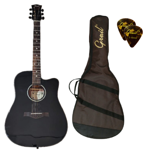 Grail Performance Edition D500C BK Acoustic Guitar Cutaway Solid Spruce Top (FREE Water Resistant Padded Gig Bag & 2 Picks)