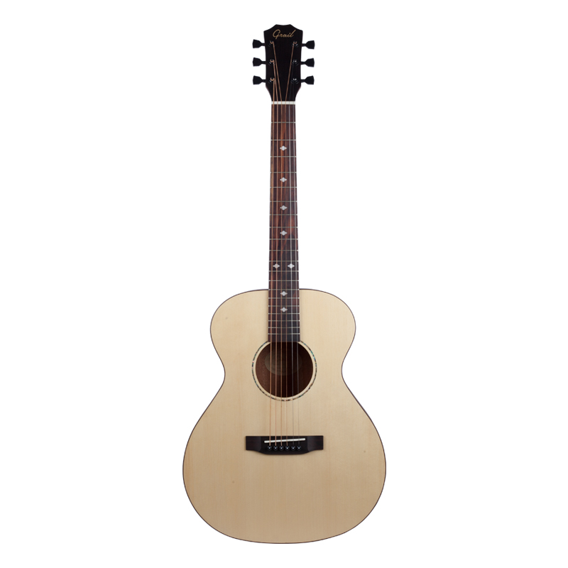 Grail AG-SD210 Acoustic Guitar Travel Mini Solid Spruce Top Sapele B and S Arched Back