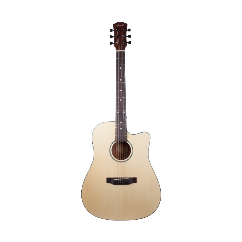 Grail AG-SD310E Acoustic Guitar Cutaway with Fishman EQ Solid Spruce Top Sapele BS