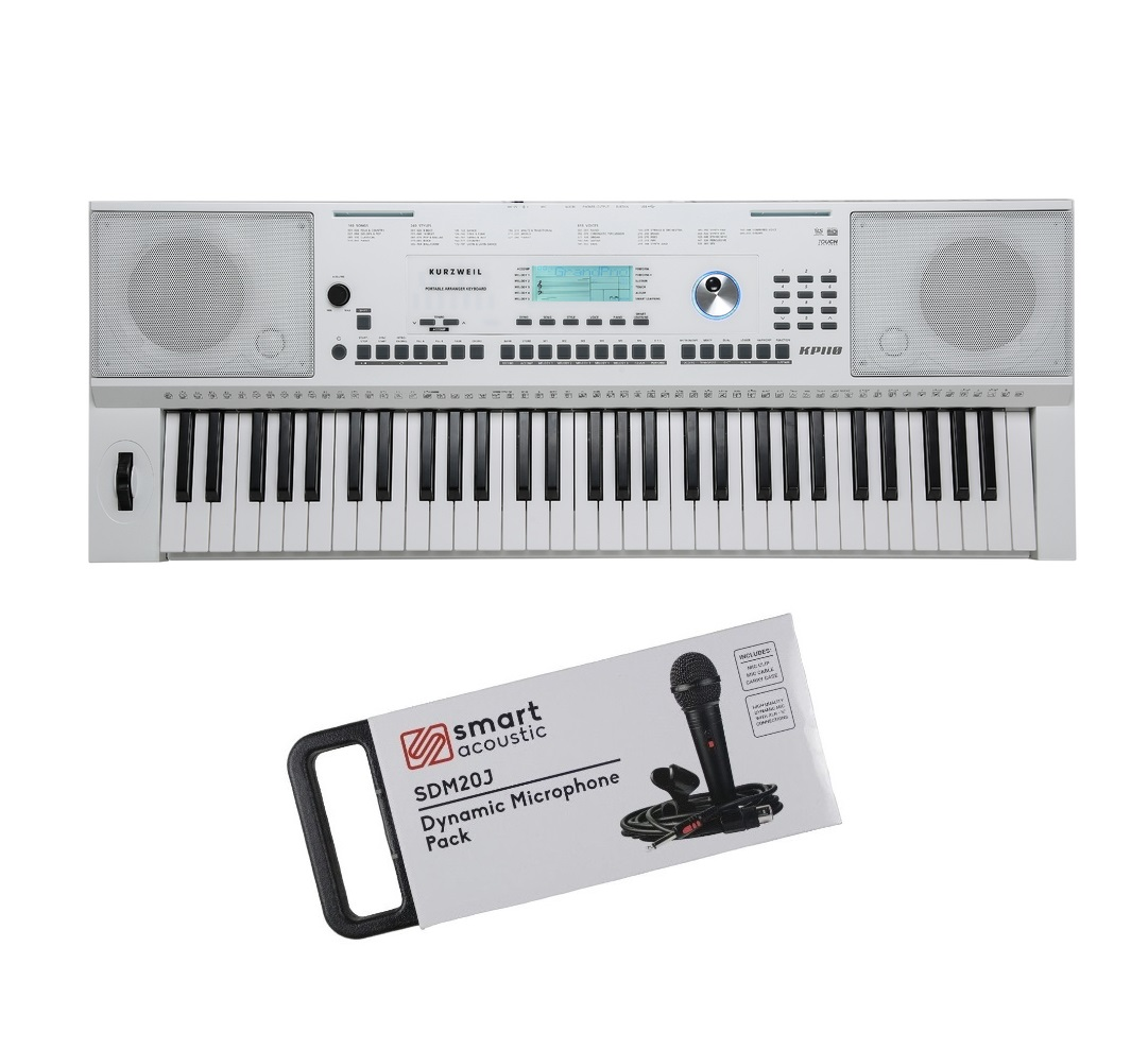 Kurzweil KP110 WH 61 keys Arranger Keyboard White with Microphone