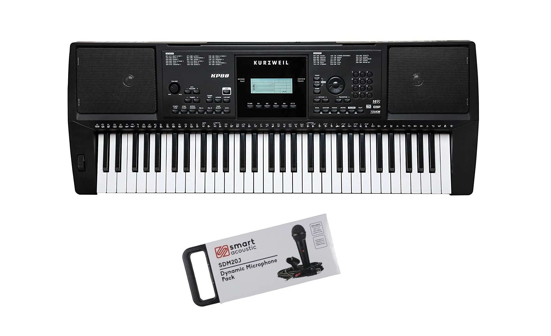 Kurzweil KP80 61 keys Arranger Keyboard with free Microphone