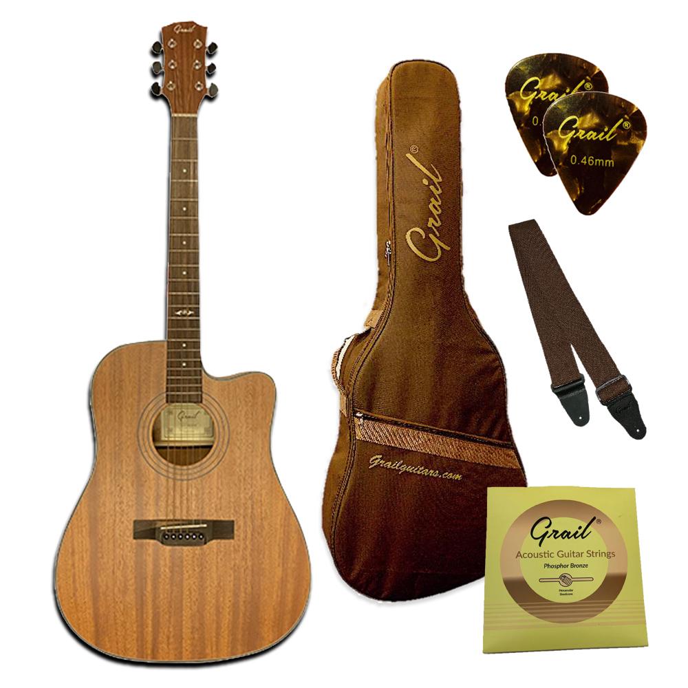Grail Aspire D410CE Semi Acoustic Guitar Cutaway All Mahogony with Truform case