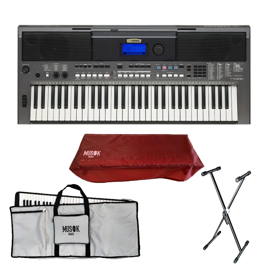 Yamaha PSR I400 Portable Keyboard with Bag, Stand and Dust Cover
