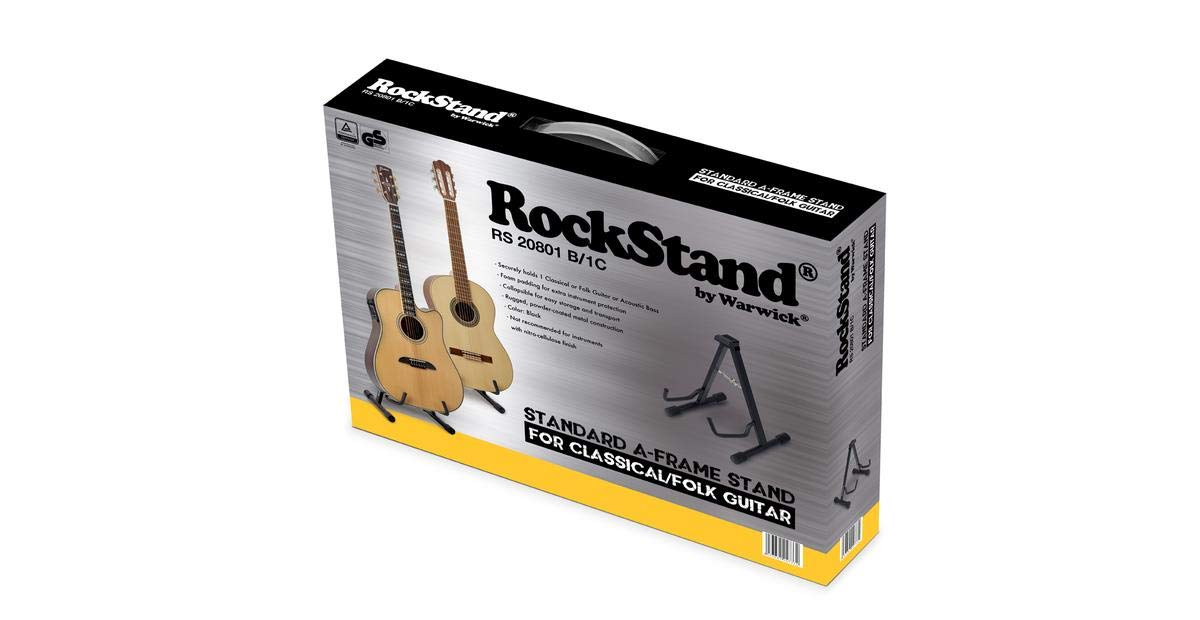 RockStand RS 20801 B/1C Standard A-Frame Guitar Stand for Classical and Acoustic Guitars Black