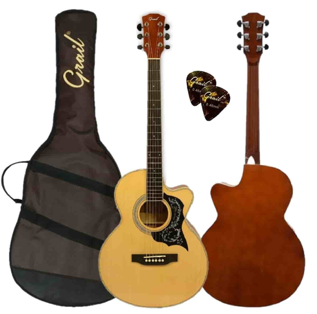 Grail Allure A190C SP Acoustic Guitar Cutaway Spruce Top  (FREE Water Resistant Padded Gig Bag & 2 Picks)