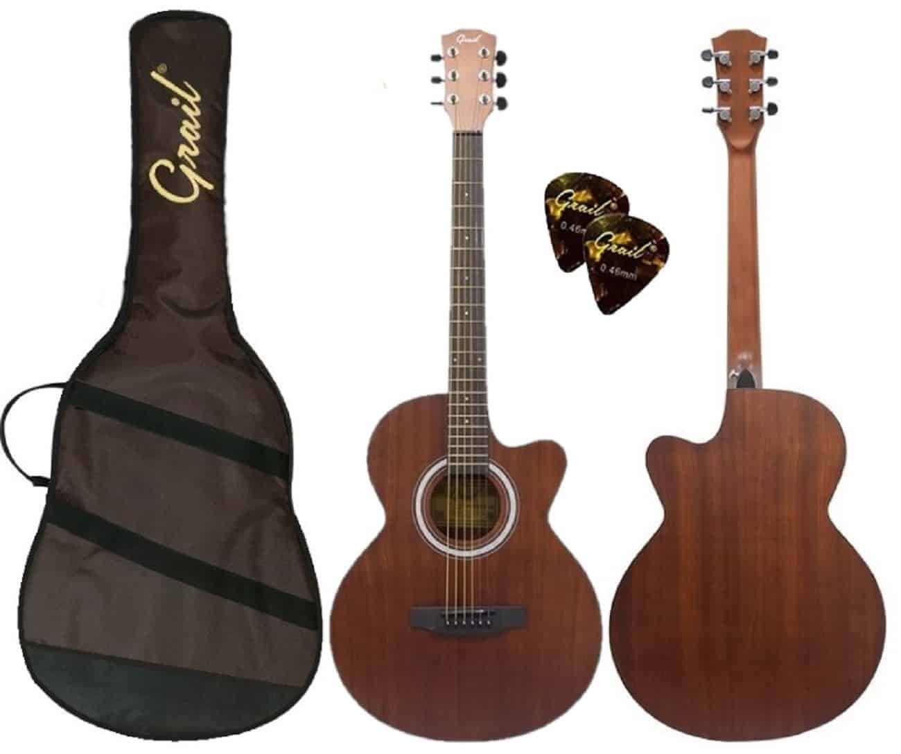 Grail Allure A190C SAS Acoustic Guitar Cutaway All Sapele (FREE Water Resistant Padded Gig Bag & 2 Picks)